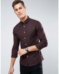 Asos Smart Skinny Oxford Shirt In Purple