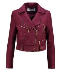 Rebel faux leather jacket burgundy medium 3993506