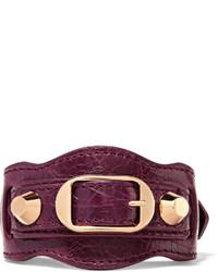Balenciaga Arena Textured Leather And Gold Tone Bracelet Burgundy