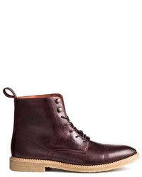 Dark Purple Leather Casual Boots