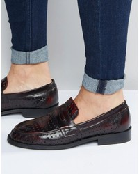 Asos Brand Perforated Loafers In Burgundy Leather