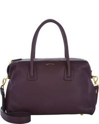 Dark Purple Leather Satchel Bag