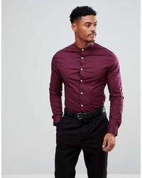 ASOS DESIGN Skinny Shirt In Burgundy With Grandad Collar