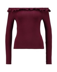 New Look Frill Edge Fitted Bardot Long Sleeved Top Burgundy