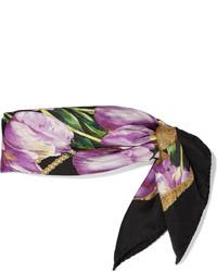 Dolce & Gabbana Tulip Print Silk Scarf Purple