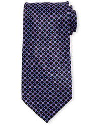 Dark Purple Print Silk Tie