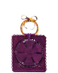 Dark Purple Straw Tote Bag