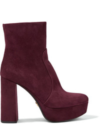 Dark Purple Suede Ankle Boots