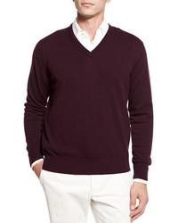 Dark Purple V-neck Sweater
