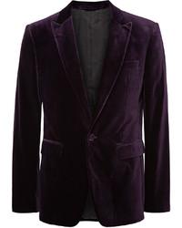 London dark purple slim fit velvet blazer medium 576125