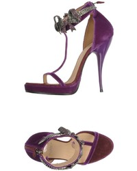 Dark Purple Velvet Heeled Sandals