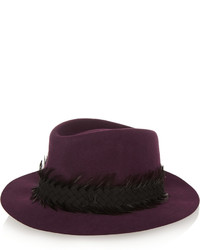 Maison Michel Andre Feather And Suede Trimmed Rabbit Felt Fedora Dark Purple