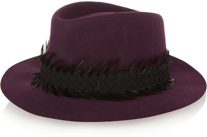 eadc110342231 ... Maison Michel Andre Feather And Suede Trimmed Rabbit Felt Fedora Dark  Purple ...