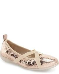Naturino Toddler Girls Metallic Crinkle Leather Ballet Flat