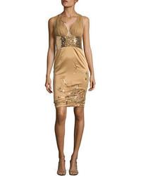 Julian Joyce Deep V Beaded Cutout Dress