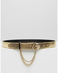 Versace Jeans Gold Belt With Gold Metal Buckle