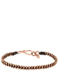 Paul Smith Rose Gold Tone Silver And Waxed Cotton Bracelet