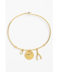 Argento Vivo Wishbone Charm Bangle Bracelet Gold