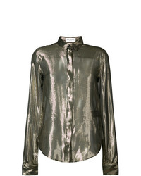 Saint Laurent Sheer Metallic Blouse