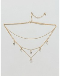 Asos Curve Curve Multirow Crystal Layered Choker Necklace