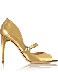 Gold Cutout Leather Pumps