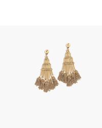 J.Crew Antique Gold Chandelier Earrings With Tassels