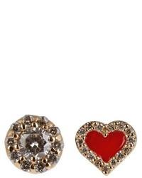 Alison Lou Diamond Enamel Yellow Gold Earrings