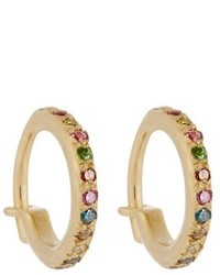 Ileana Makri Diamond Semi Precious Stone Gold Earrings