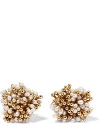 Rosantica Pioggia Gold Tone Pearl Clip Earrings