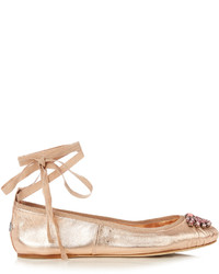 Jimmy Choo Grace Embellished Leather Ballet Flats