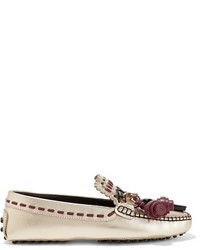 Tod's Embellished Metallic Leather Loafers Gold