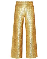 Ashish Sequin Embellished Straight Leg Cotton Trousers