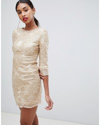 TFNC Baroque Patterned Sequin Mini Dress In Gold