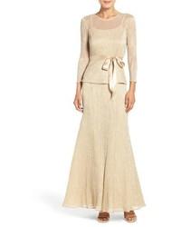 Chetta B Peplum Metallic Mock Two Piece Gown
