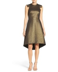 Halston Heritage Metallic Jacquard Fit Flare Dress