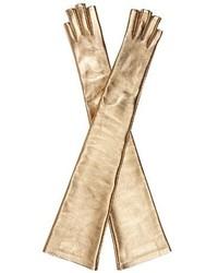 Gucci Metallic Fingerless Elbow Length Gloves
