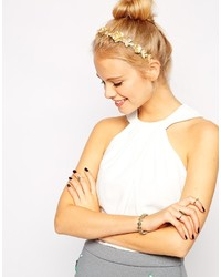 Asos Collection Metallic Flower Faux Pearl Headband
