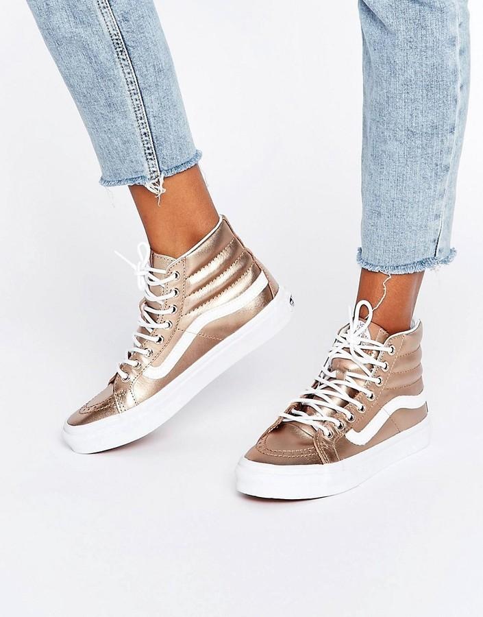 new concept 95c0f dd69a £85, Vans Rose Gold Metallic Sk8 Hi Slim Sneakers