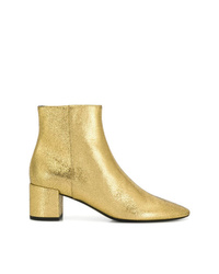 Saint Laurent Cracked Texture Ankle Boots
