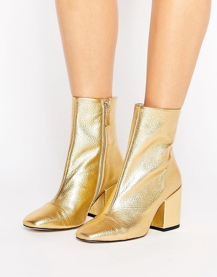 ... Mango Gold Leather Ankle Boot ... b63756c17
