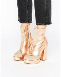 Terry De Havilland Metallic Leather Mega Platform Ankle Boots