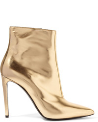 Balenciaga Mirrored Leather Ankle Boots Gold