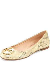 Gold Leather Ballerina Shoes