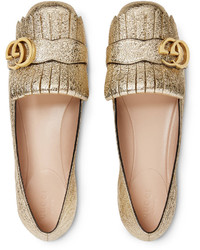 Gucci Metallic Leather Ballet Flat