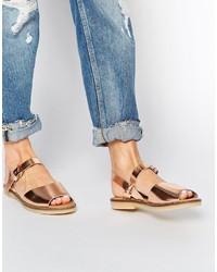439e5336c4deb1 Aldo Roncari Rose Gold Leather Flat Sandals