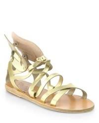 Gold Leather Gladiator Sandals