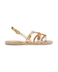 da2163c2f64 Ancient Greek Sandals Schinousa Metallic Leather Sandals