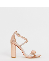 Glamorous Wide Fit Cross Heeled Sandals In Gold