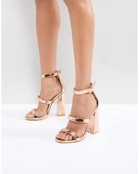 Public Desire Gold Oyster Triple Strap Sandals
