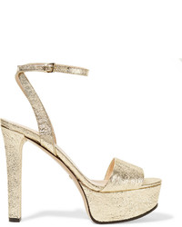 Gucci Metallic Cracked Leather Platform Sandals Gold